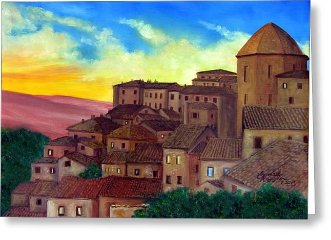 Tuscan Rooftops Greeting Card by Leonardo Ruggieri