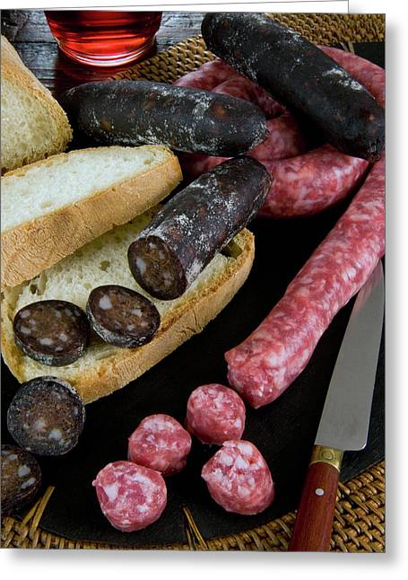 Tuscan Sausages, Tuscan Food, Tuscany Greeting Card by Nico Tondini