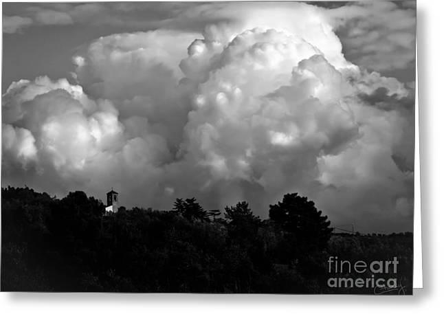 Tuscan Storm Rising From The Valley Greeting Card