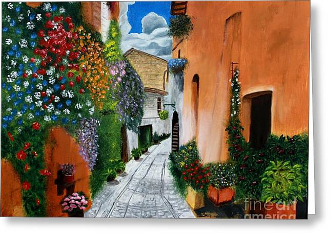 Tuscan Street Scene Greeting Card by Bev Conover