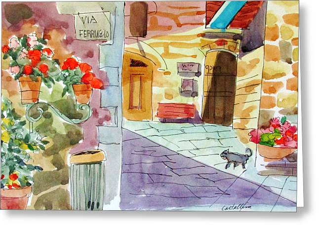 Tuscan Street Scene Greeting Card