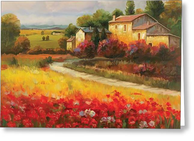 Greeting Card featuring the painting Tuscan Villa  by Tim Gilliland