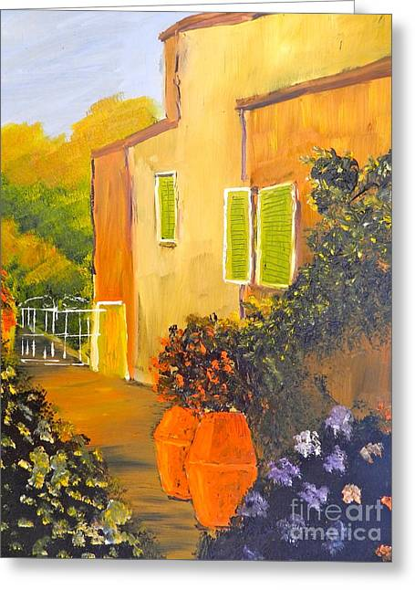 Greeting Card featuring the painting Tuscany Courtyard by Pamela  Meredith