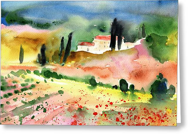 Tuscany Landscape 02 Greeting Card by Miki De Goodaboom