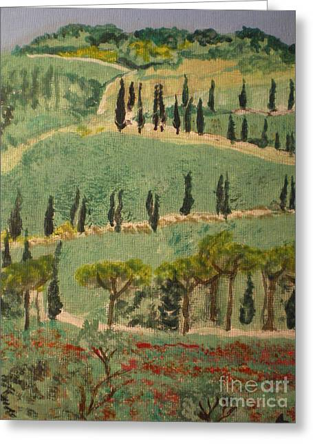 Tuscany Landscape Greeting Card by Ann Fellows
