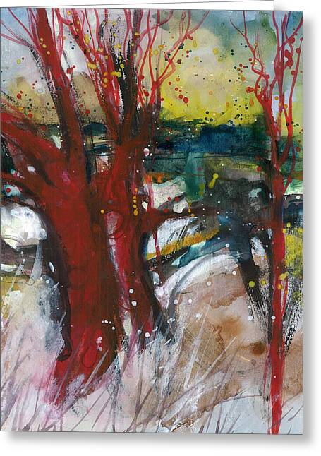 Tuscany Landscape With Red Tree Greeting Card by Alessandro Andreuccetti