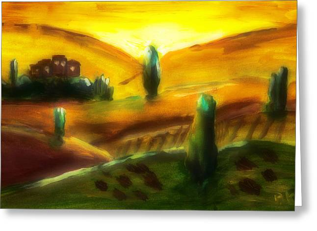 Tuscany Sunrise Greeting Card by Peg Holmes