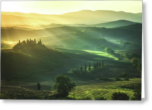 Tuscany - Val D'orcia Sunrise Greeting Card