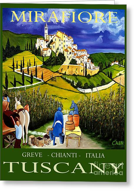 Tuscany Wine Poster Art Print Greeting Card by William Cain
