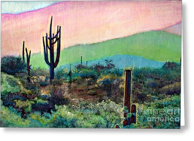 Tuscon Saguaro 1 Greeting Card by Cindy McIntyre