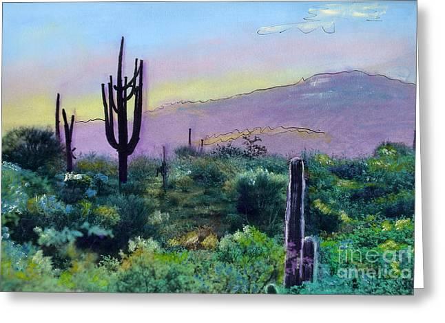Tuscon Saguaro V2 Greeting Card by Cindy McIntyre