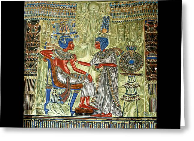 Greeting Card featuring the painting Tutankhamon's Throne by Leena Pekkalainen
