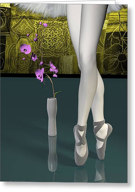 Tutu To Toe Shoes - Green Greeting Card by Andre Price