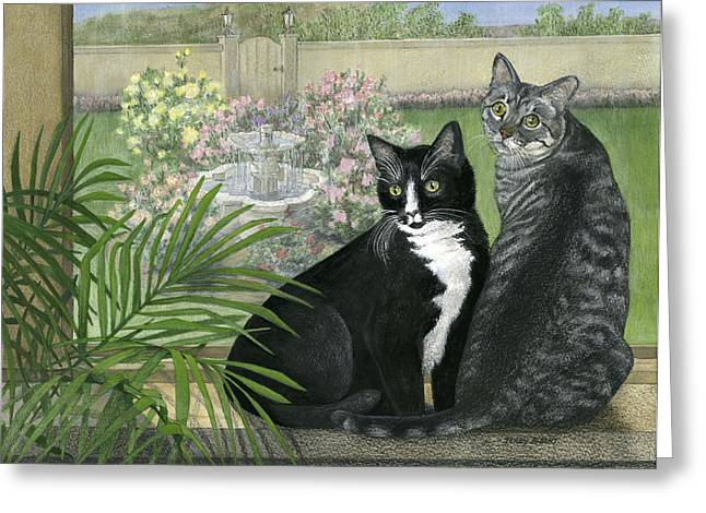 Tuxedo And Tabby Greeting Card