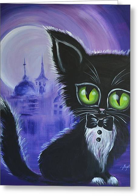 Greeting Card featuring the painting Tuxedo Cat by Agata Lindquist