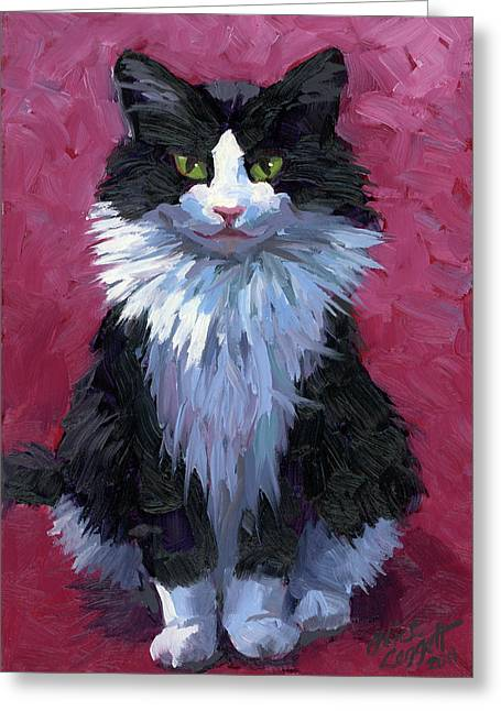 Tuxedo Cat Greeting Card by Alice Leggett