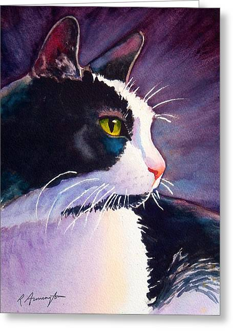 Tuxedo Cat Named Stormy Greeting Card