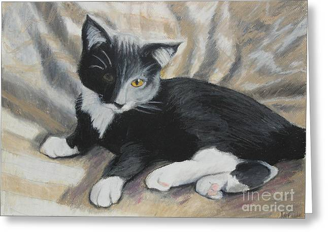 Greeting Card featuring the painting Tuxedo Kitten by Jeanne Fischer