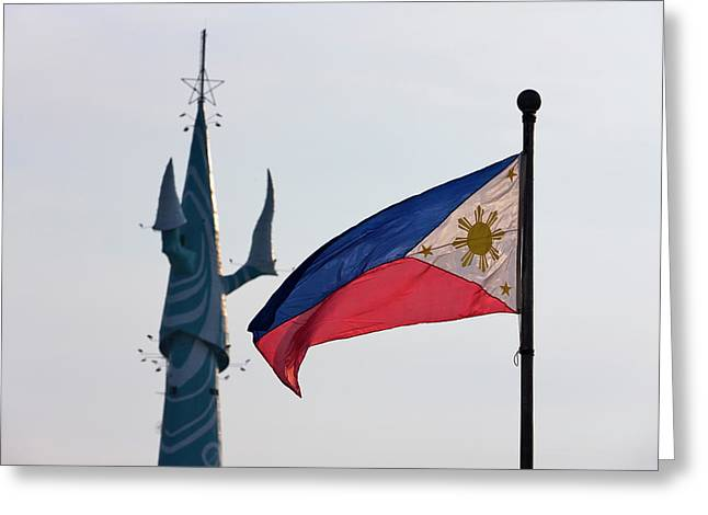 Tv Tower And National Flag, Manila Greeting Card