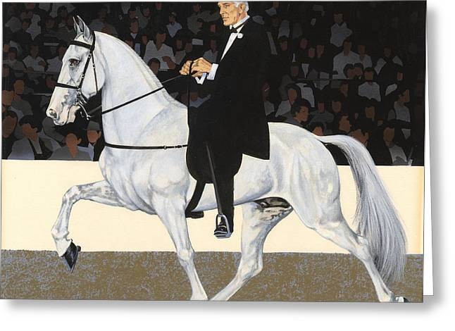 White Walking Horse In Show Greeting Card by Don  Langeneckert