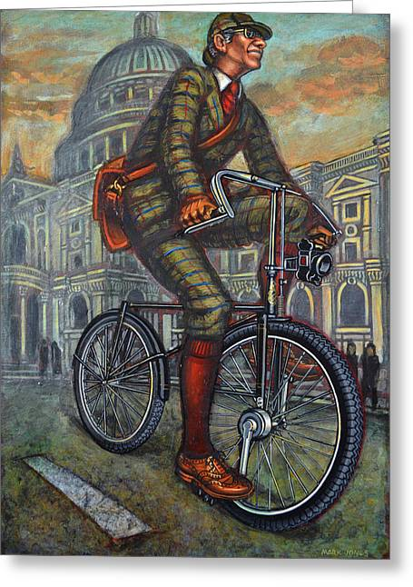 Bob On His Bantam St Pauls London Greeting Card