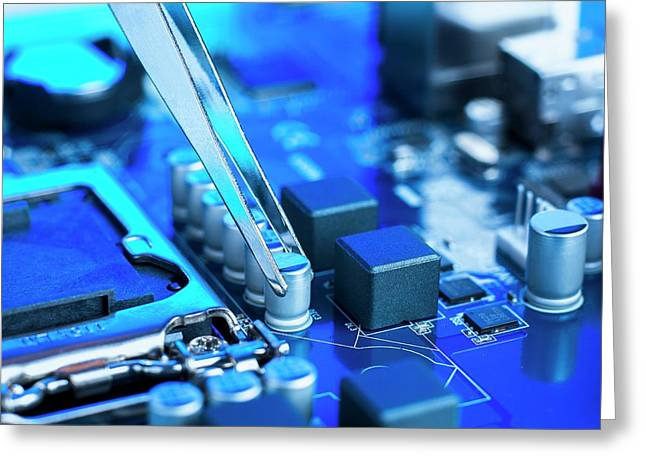 Tweezers And Computer Components Greeting Card by Science Photo Library