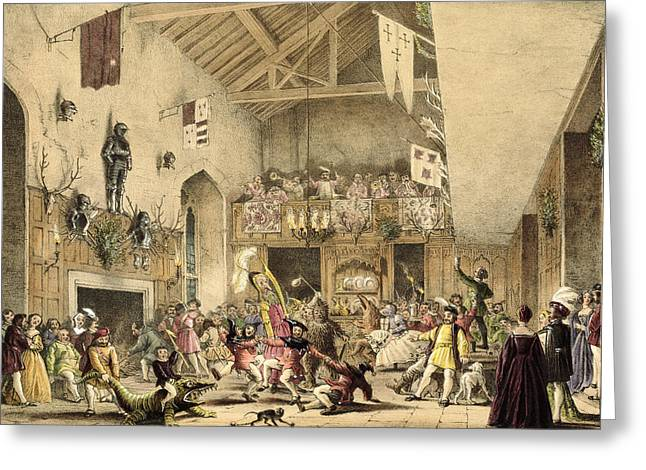 Twelfth Night Revels In The Great Hall Greeting Card by Joseph Nash