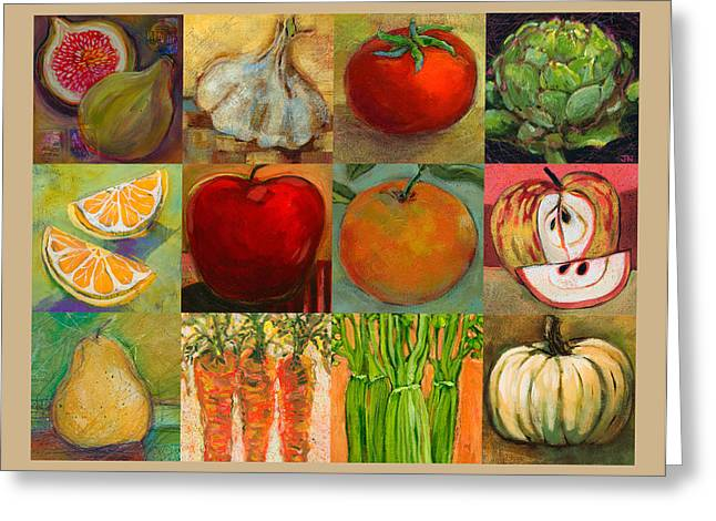 Twelve Colorful Foods Collage Greeting Card by Jen Norton