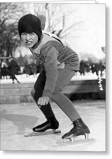 Twelve Year Old Speed Skater Greeting Card