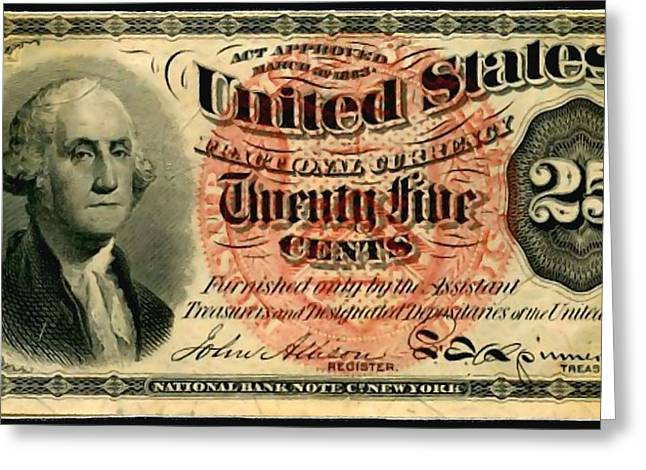 Twenty Five Cent 4th Issue U.s. Fractional Currency Fr 1302 Greeting Card