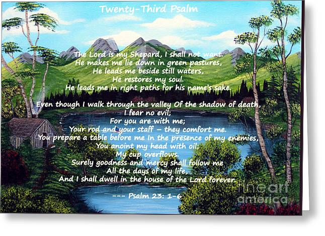 Twenty-third Psalm On Twin Ponds Greeting Card by Barbara Griffin