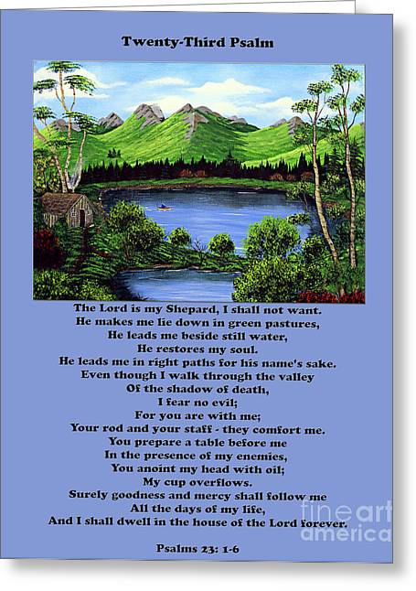 Twenty-third Psalm With Twin Ponds Blue Greeting Card by Barbara Griffin