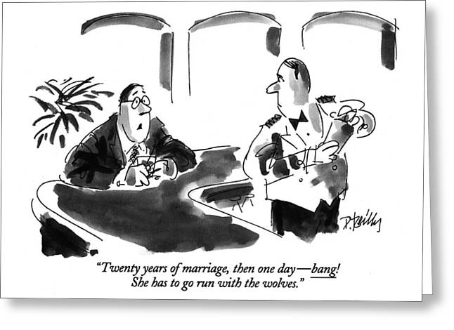 Twenty Years Of Marriage Greeting Card by Donald Reilly