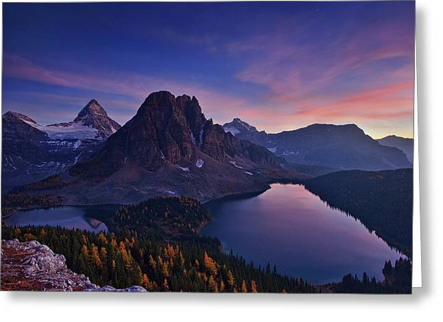 Twilight At Mount Assiniboine Greeting Card