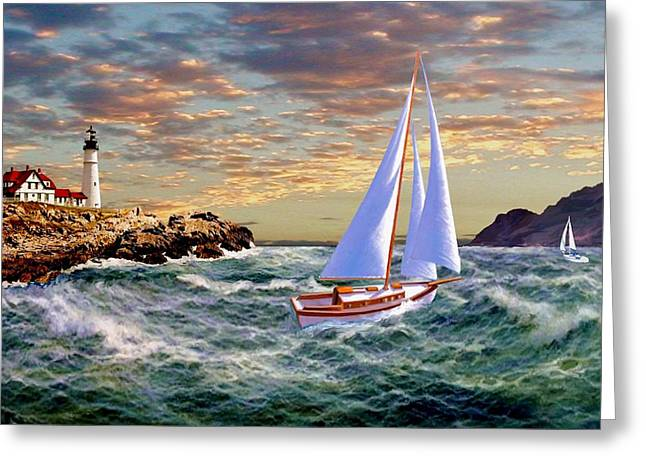 Twilight At Portland Greeting Card by Ron Chambers