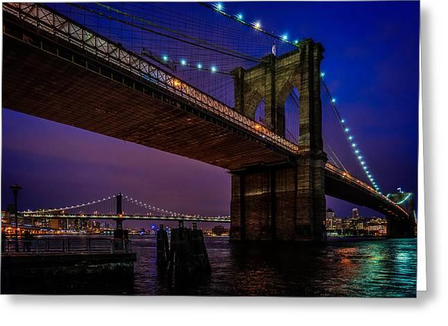 Twilight At The Brooklyn Bridge Greeting Card