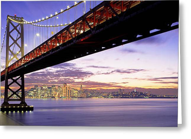 Twilight, Bay Bridge, San Francisco Greeting Card by Panoramic Images