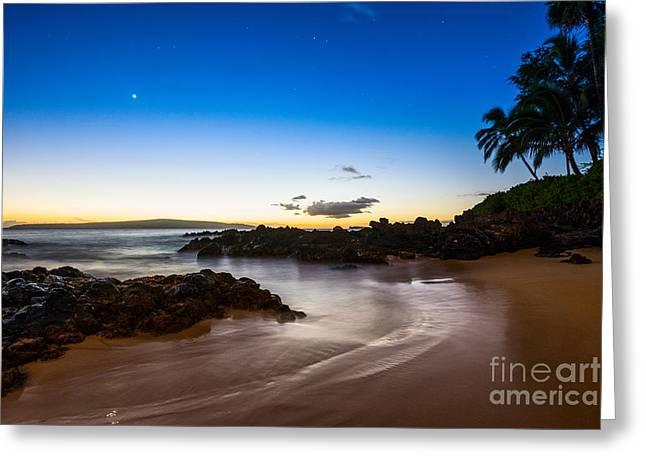 Twilight Beach - Beautiful And Secluded Secret Beach In Maui. Greeting Card by Jamie Pham
