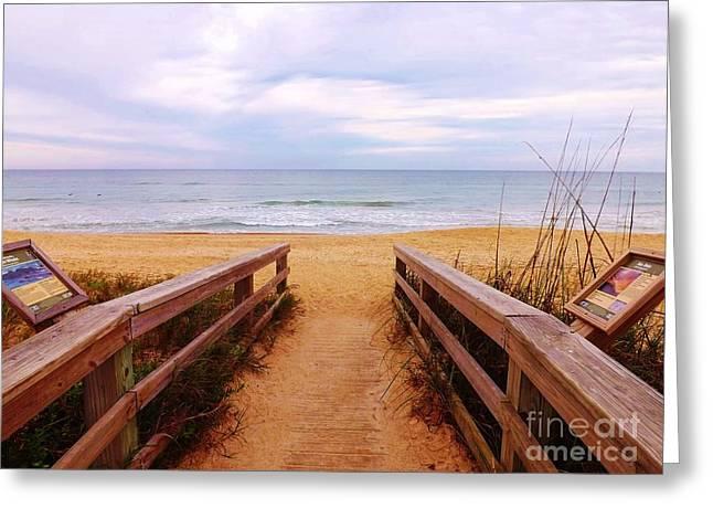 Twilight Beach Walk Greeting Card