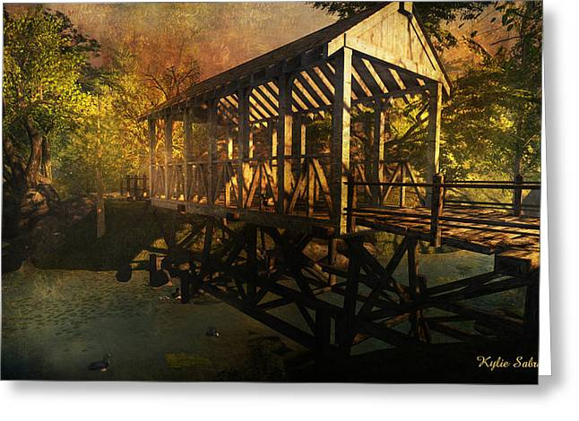 Twilight Bridge Greeting Card