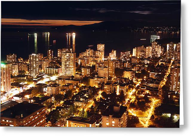 Greeting Card featuring the photograph Twilight English Bay Vancouver Mdlxvii by Amyn Nasser