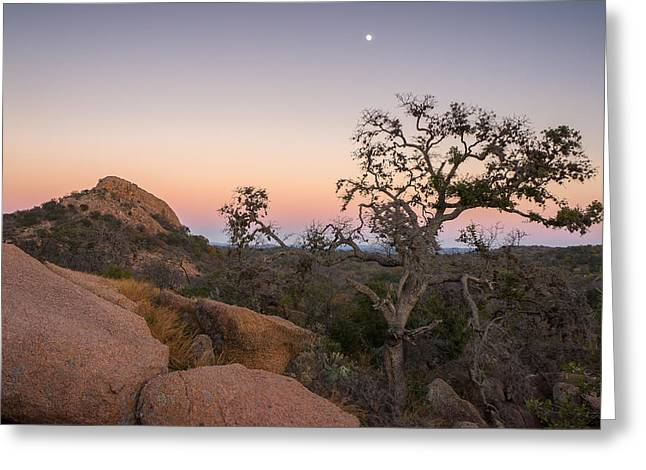 Twilight Hours At Enchanted Rock State Natural Area In Texas Greeting Card