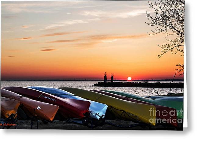 Twilight Kayaks Greeting Card by Barbara McMahon