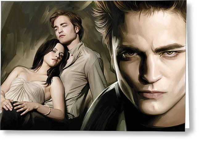 Twilight  Kristen Stewart And Robert Pattinson Artwork 2 Greeting Card