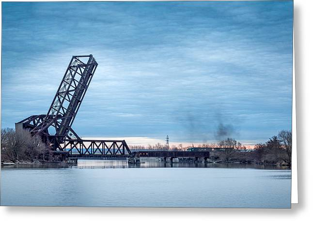 Twilight Locomotive Crossing Buffalo River Greeting Card