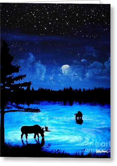 Twilight Moose Greeting Card by Tylir Wisdom