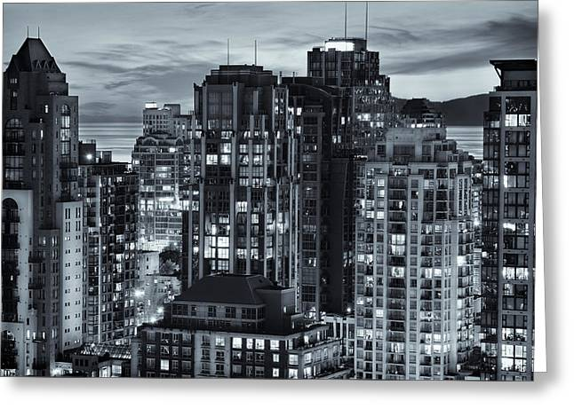 Greeting Card featuring the photograph Twilight On Cityscape Of Vancouver Overlooking English Bay - Greeting Card by Amyn Nasser