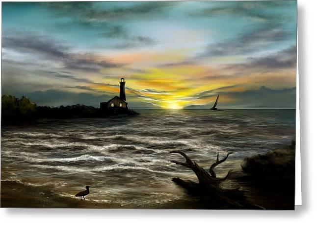 Twilight On The Sea Greeting Card