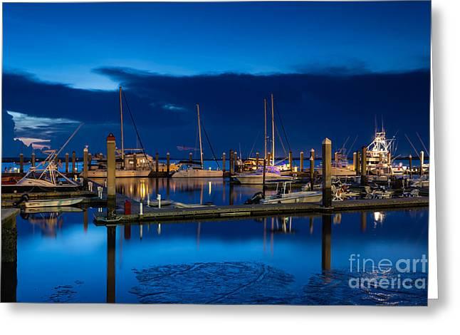 Twilight Over Fernandina Beach Marina Greeting Card