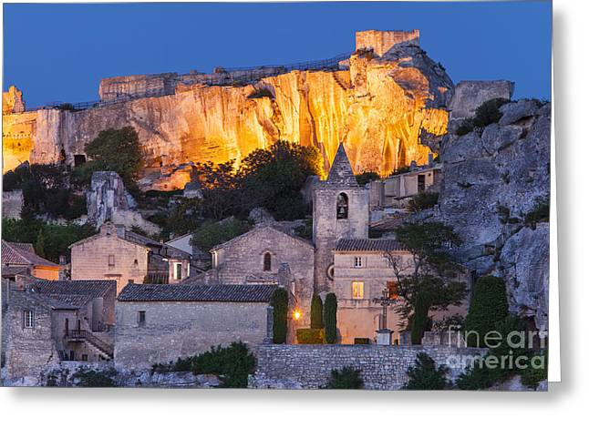Twilight Over Les Baux Greeting Card by Brian Jannsen